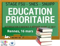 Stage éducation prioritaire - Rennes le 16 mars